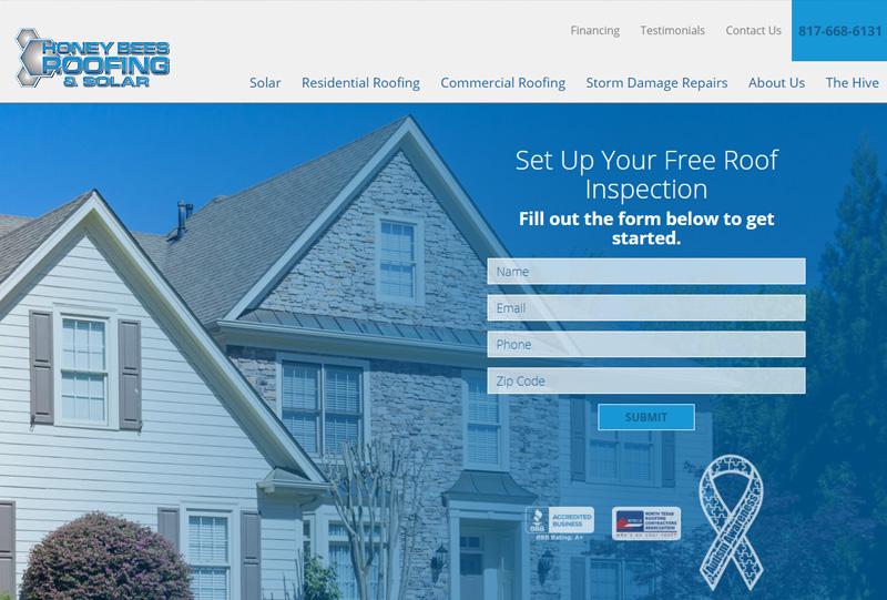 Honey Bees Roofing & Solar Homepage Screenshot